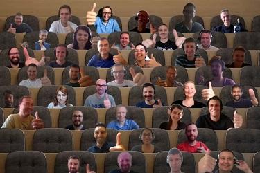 Group of employees at virtual Microsoft Teams meeting