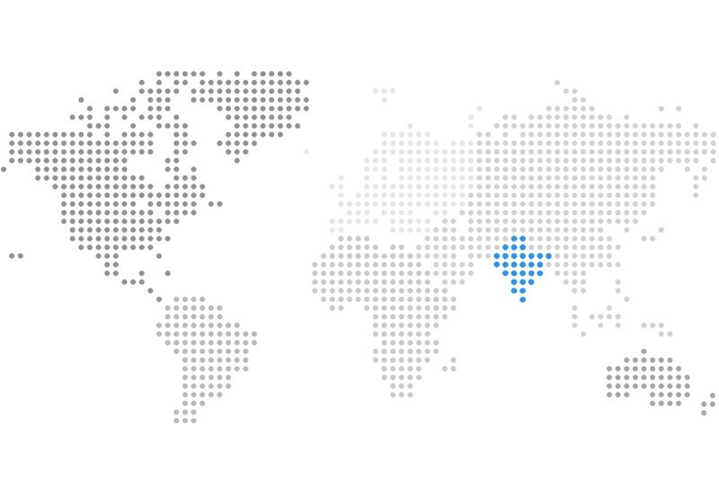 Illustrative map of the world highlighting India
