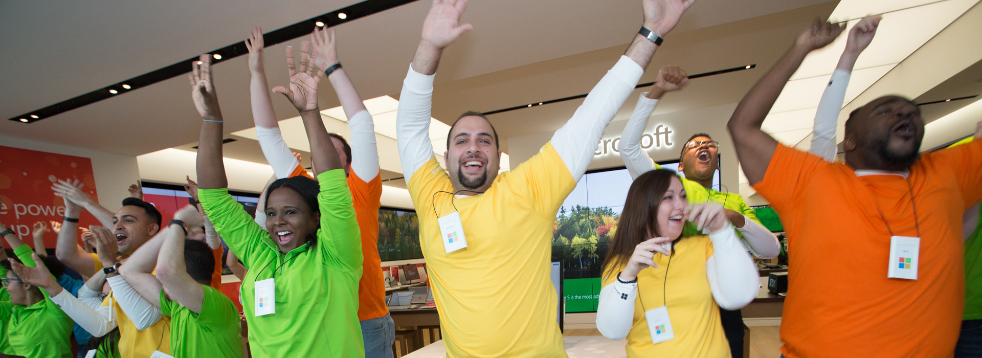 Photo of Microsoft store employees
