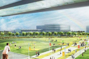 Rendering of Microsoft's planned campus renovation featuring new buildings and common outdoor spaces