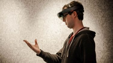 Photo of  Philip Jarvis using Microsoft HoloLens