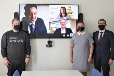 Photo of government officials in video conference