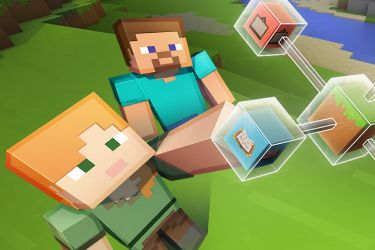 A screenshot image of two characters from Minecraft
