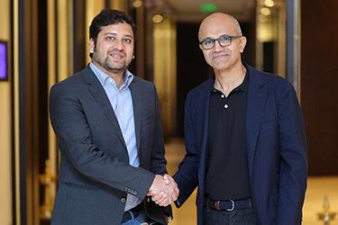 Satya Nadella of Microsoft and Flipkart CEO Binny Bansal