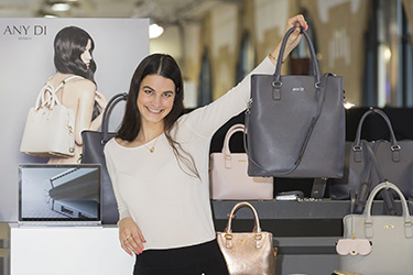 Fashion designer, Anne Dickhardt, with her handbag