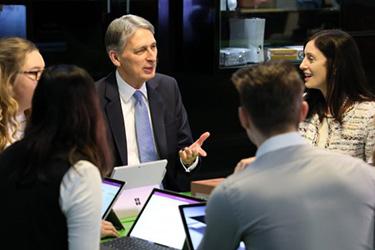Cindy Rose of Microsoft UK and Chancellor Philip Hammond