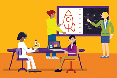 Illustration of girls in STEM