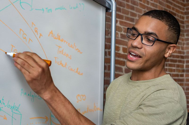 Photo of Microsoft employee Alain at whitboard