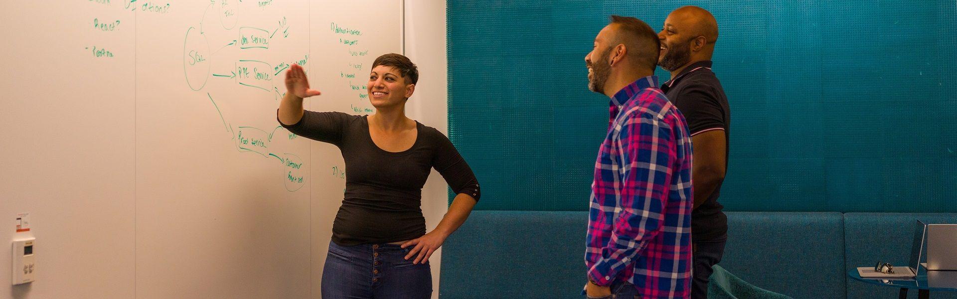 Photo of Microsoft employees at whiteboard