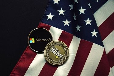 Photo of US Flag and coin
